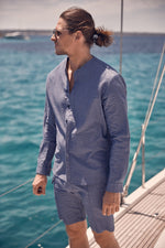 Navy Ripple Slim Fit Shirt