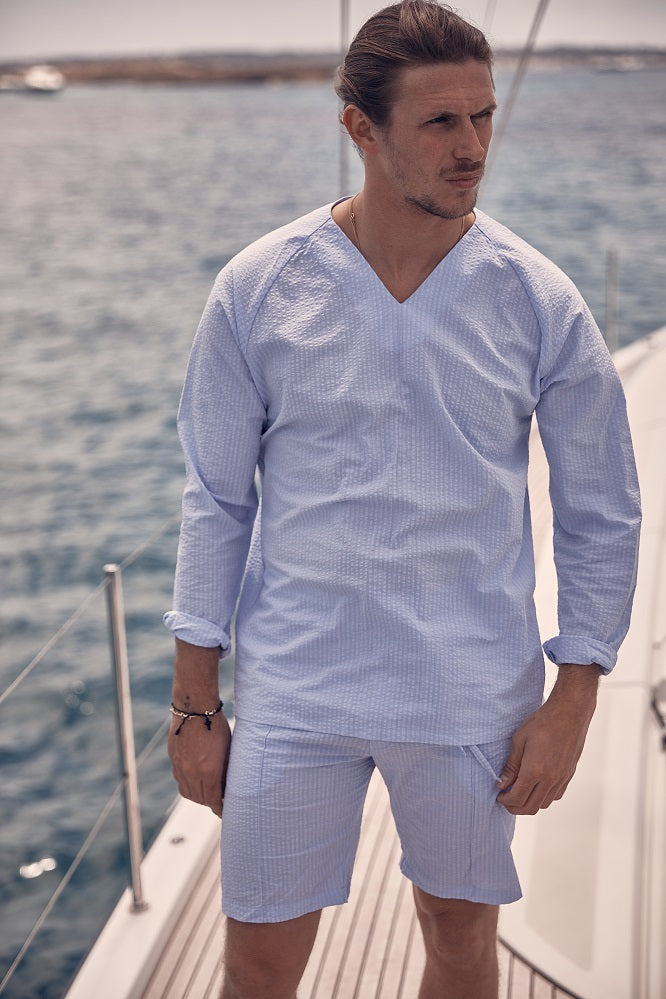 Light Blue Ripple V-neck Pull Over Slim Fit Shirt