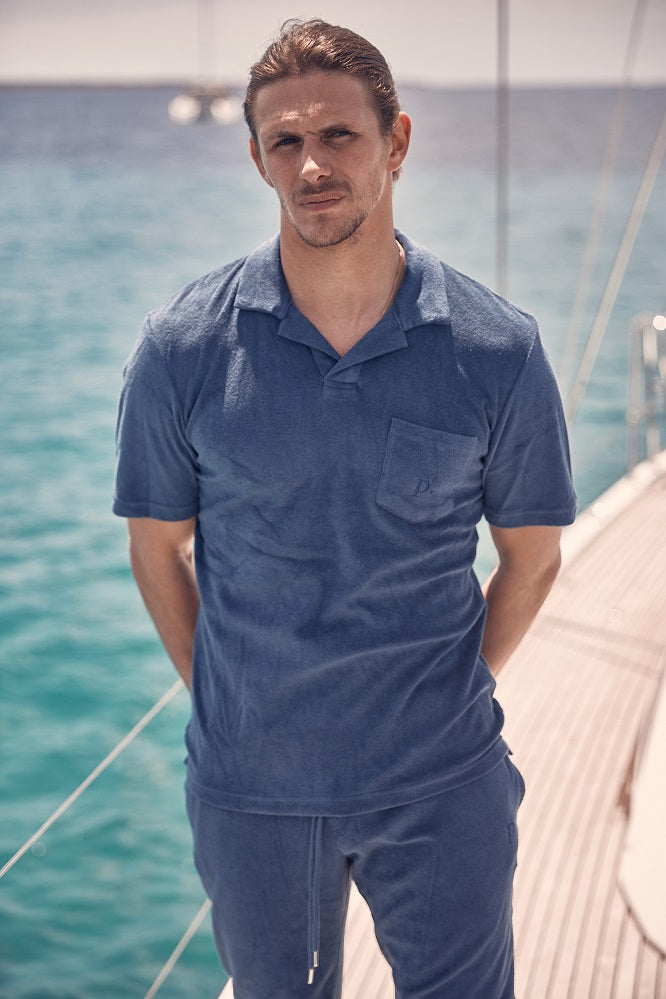 Navy Astor Towelling Short Sleeve Slim Fit Polo - P r é v u . S t u d i o .