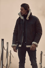 Brown Bourdon Shearling Aviator Jacket - P r é v u . S t u d i o .