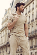 Tan Astor Towelling Short Sleeve Slim Fit T-Shirt