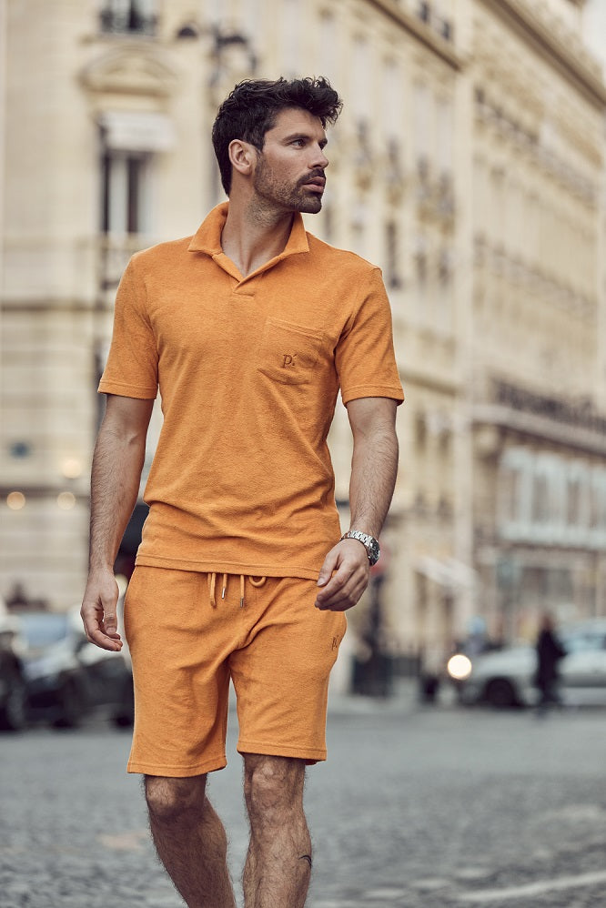 Orange Astor Towelling Short Sleeve Slim Fit Polo