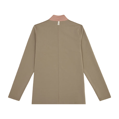 Load image into Gallery viewer, Khaki Queens 1/4 Zip Funnel Neck Top - P r é v u . S t u d i o .