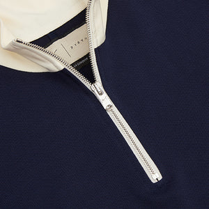 Navy Queens 1/4 Zip Funnel Neck Top - P r é v u . S t u d i o .