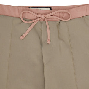 Khaki Queens Pleated Trousers - P r é v u . S t u d i o .