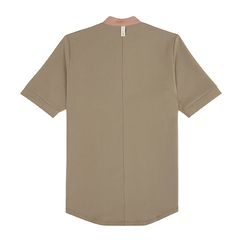 Khaki Queens Zip Neck T-Shirt