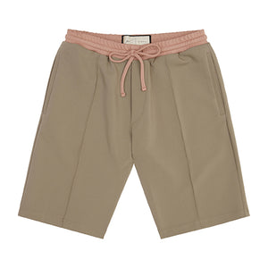 Khaki Queens Pleated Shorts