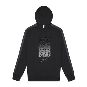 Tech Jersey Zip Through Hoodie Text Print Black