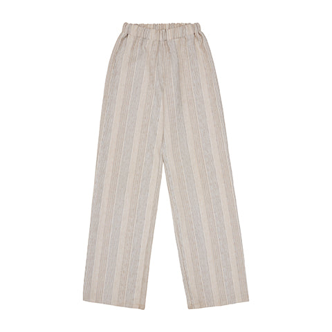 Load image into Gallery viewer, Women's Ecru Eden Stripe Trouser - P r é v u . S t u d i o .