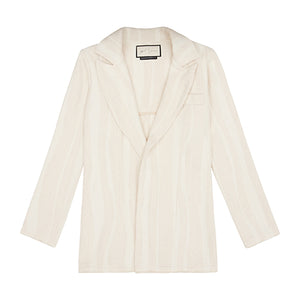 Women's Cream Striped Souk Blazer - P r é v u . S t u d i o .