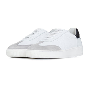 White Leather and Suede Signature Trainers