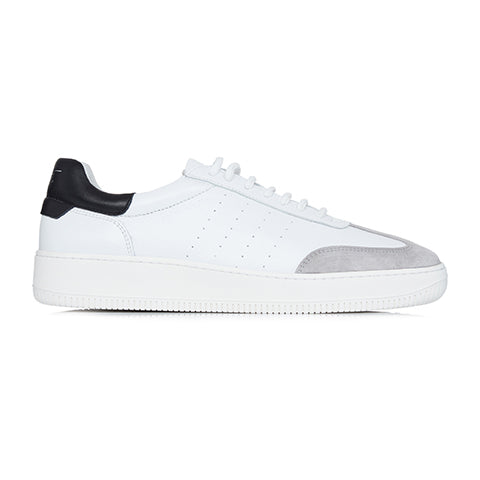 White Leather and Suede Signature Trainers - P r é v u . S t u d i o .