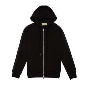 BLACK TECH JERSEY ZIP THROUGH HOODIE
