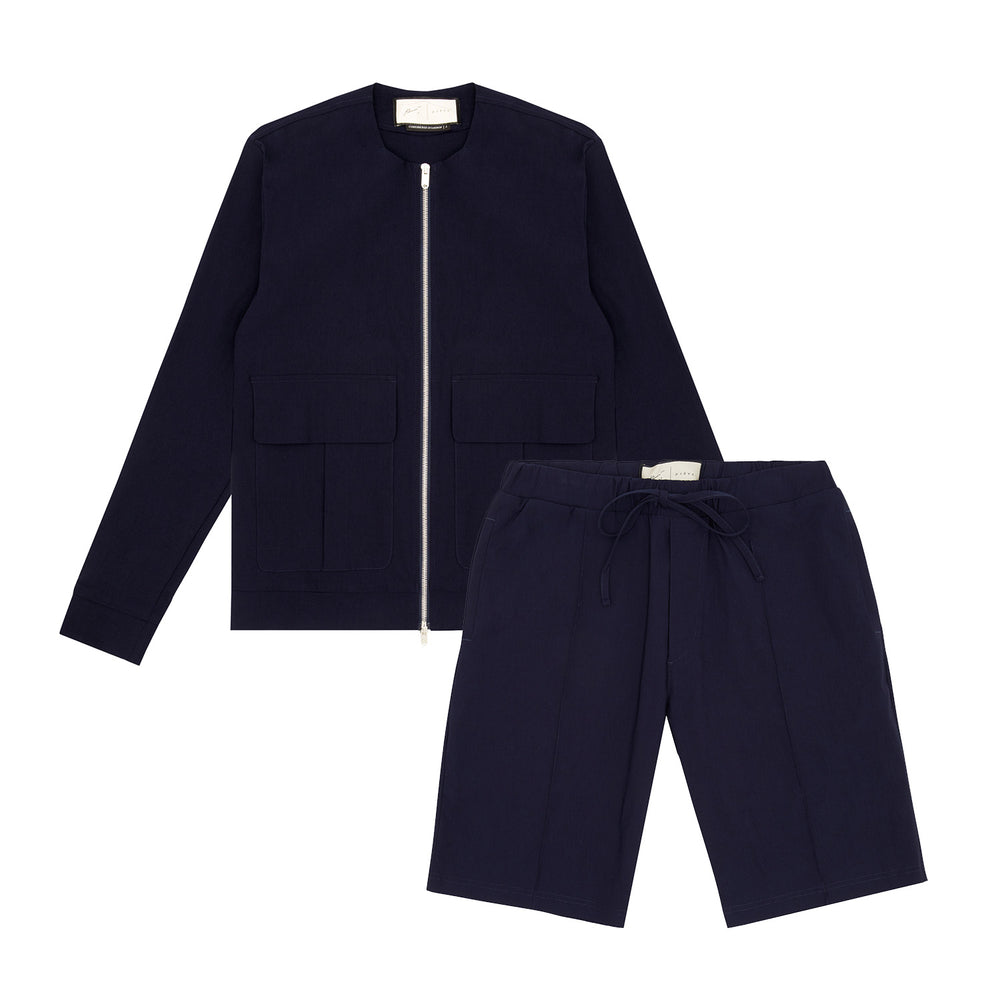 Franklin Street Collarless Jacket & Short Twinset Navy