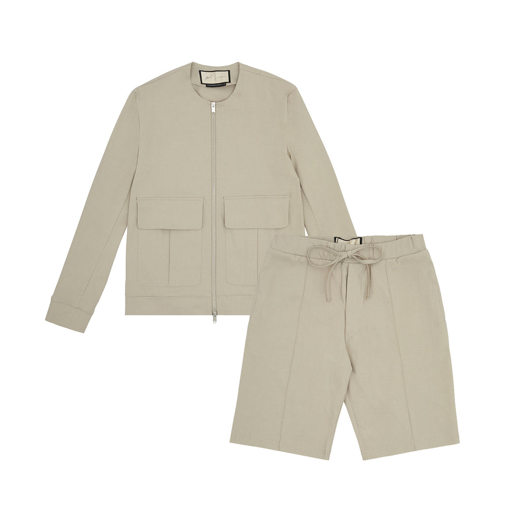 Franklin Street Collarless Jacket & Short Twinset Stone