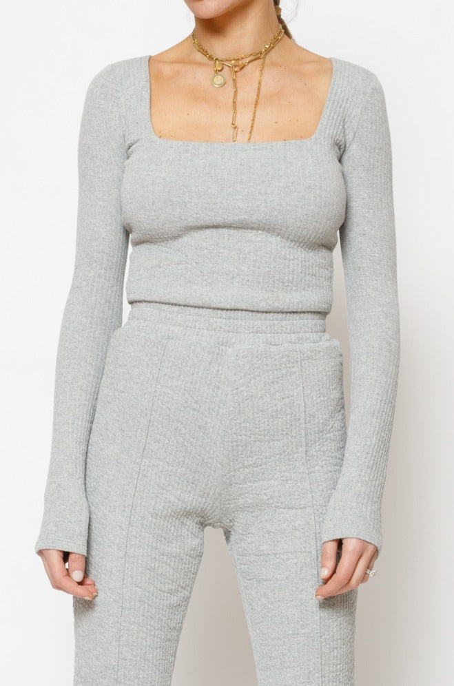 Women's Grey Sandon Textured Long Sleeve Top - P r é v u . S t u d i o .