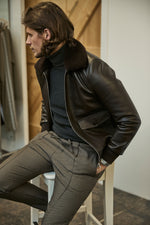 Brown Ellwood Rd Leather Patch Pocket Bomber - P r é v u . S t u d i o .