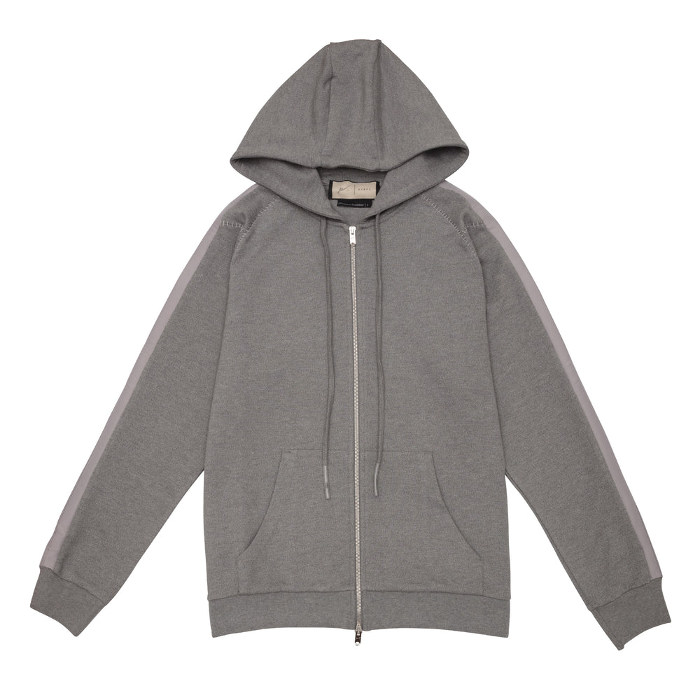 Tech Jersey Zip Through Hoodie Grey Marl