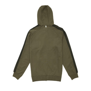 OLIVE TECH JERSEY ZIP THROUGH HOODIE