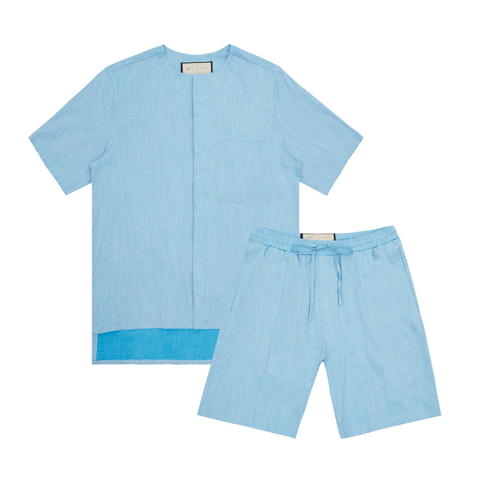 Palma Linen Short Sleeve Collarless Shirt & Short Twinset Crystal Blue
