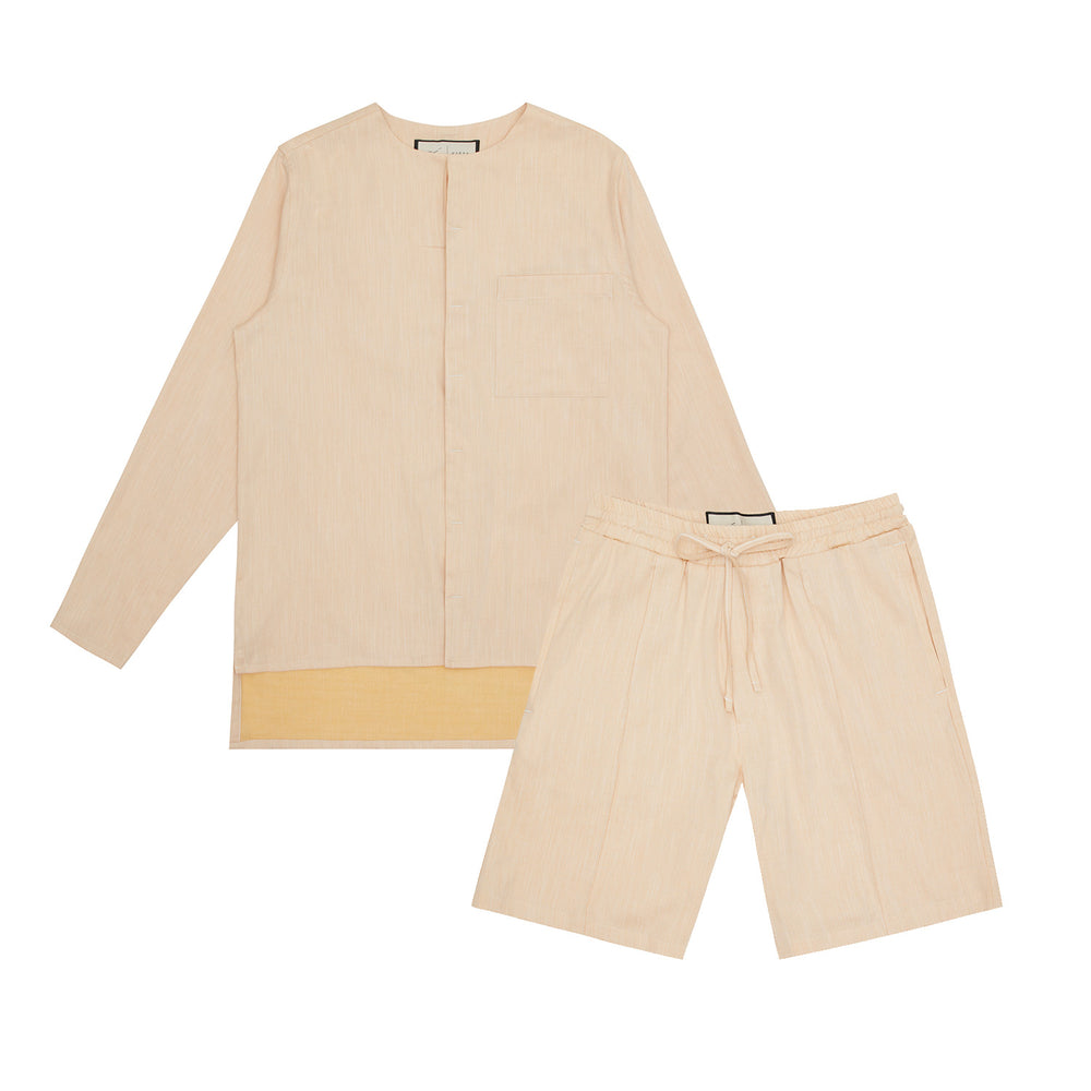 Palma Linen Long Sleeve Collarless Shirt & Short Twinset Pale Peach - P r é v u . S t u d i o .