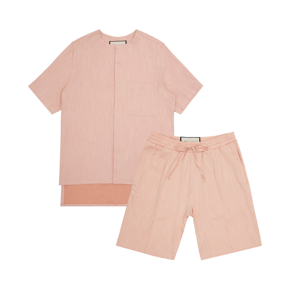 Load image into Gallery viewer, Palma Linen Short Sleeve Collarless Shirt & Short Twinset Apricot - P r é v u . S t u d i o .