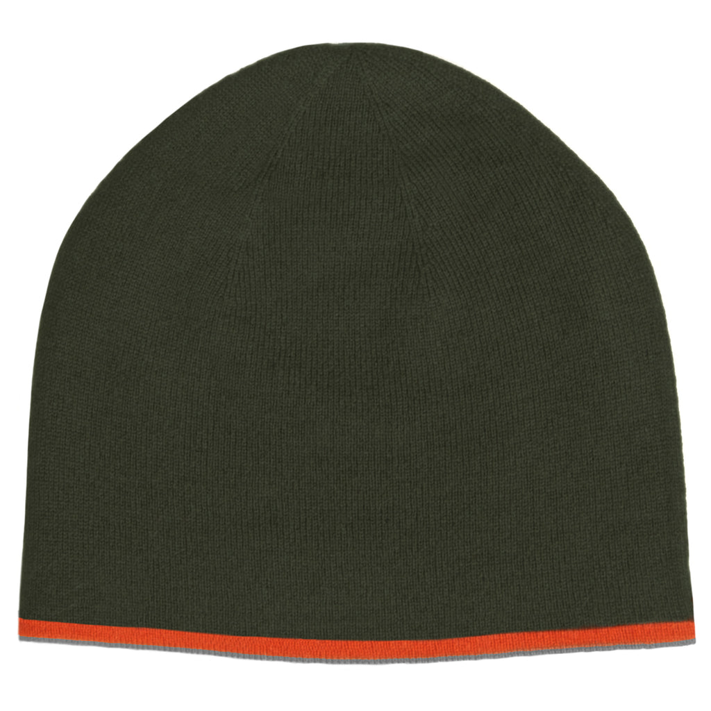 Knit Reversible Hat - New Army Green / Burnt Orange / Chocolate / Elephant