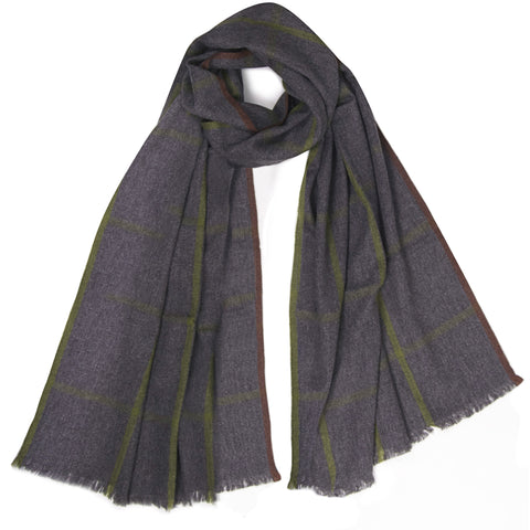 Melange Window Pane Muffler - Dark Grey Melange / British Khaki / Truffle