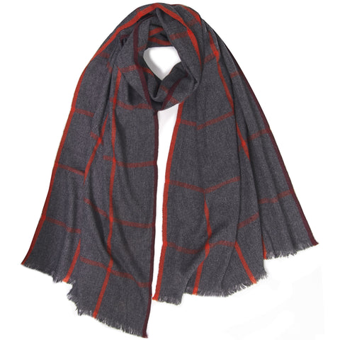 Melange Window Pane Muffler - Dark Grey Melange / Jungle Red / Mulberry