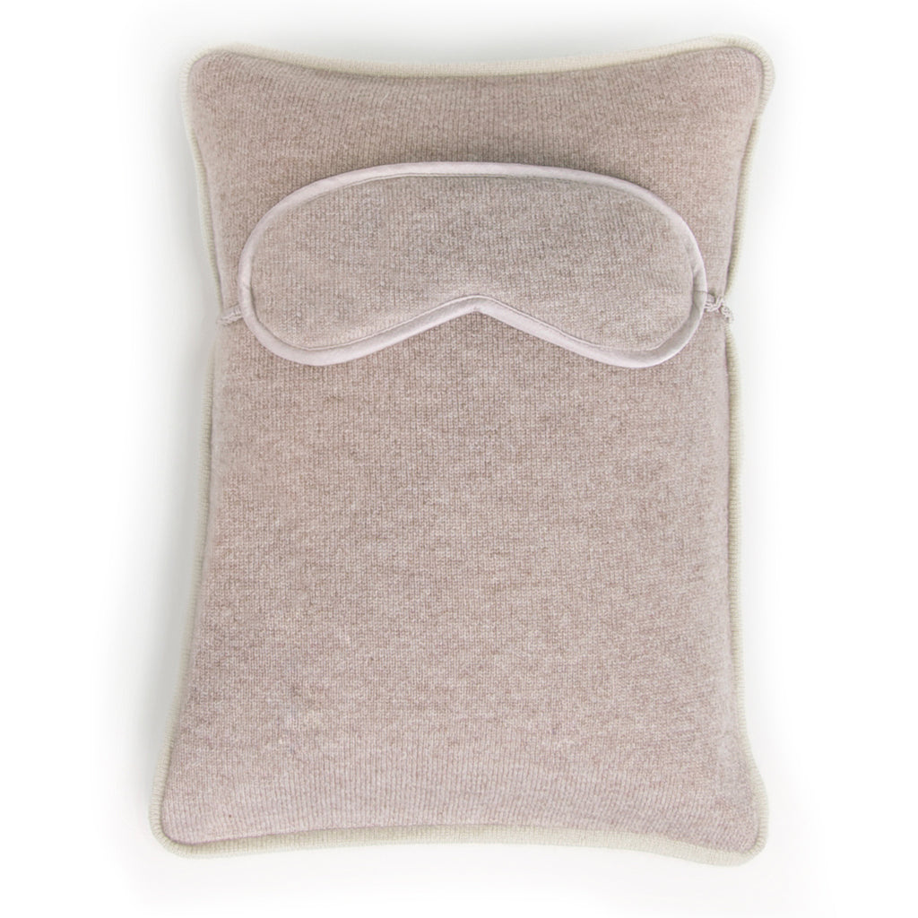 Chronos Travel Pillow with Eye Mask - Beige Melange / Orchid
