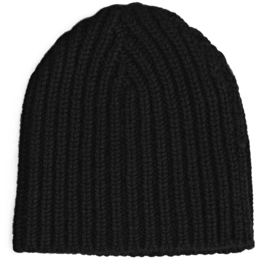 Hand Knit Rib Hat - Black
