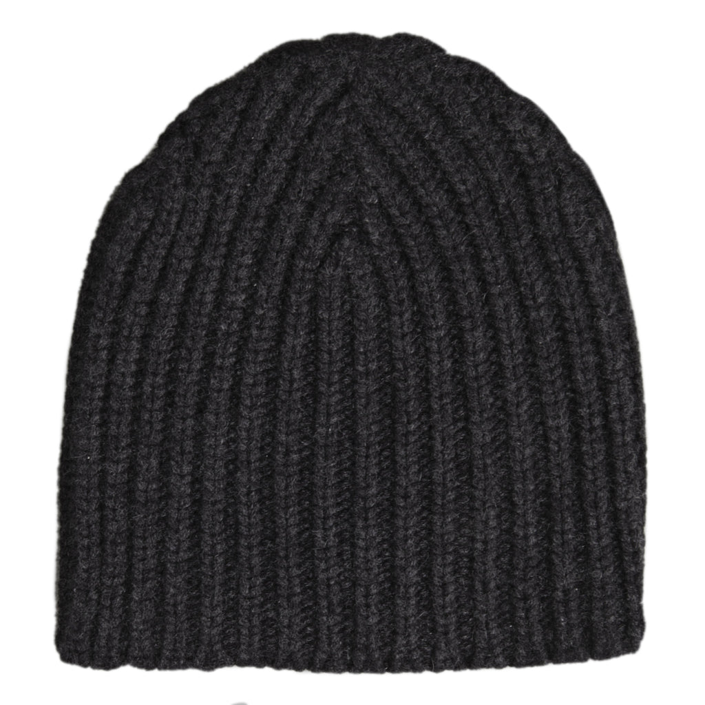 Hand Knit Rib Hat - Dark Grey Melange