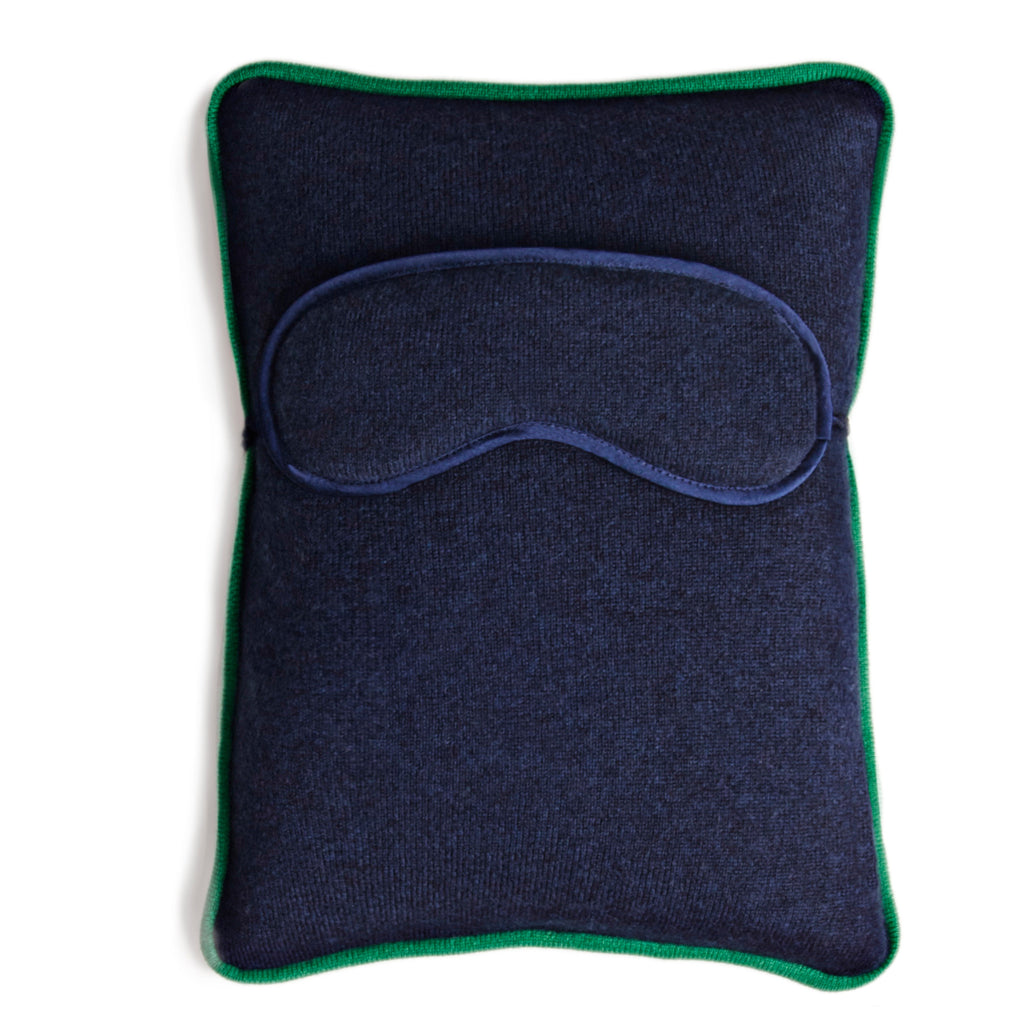 Chronos Travel Pillow with Eye Mask - Dusk Medium Grey Melange / Kelly Green