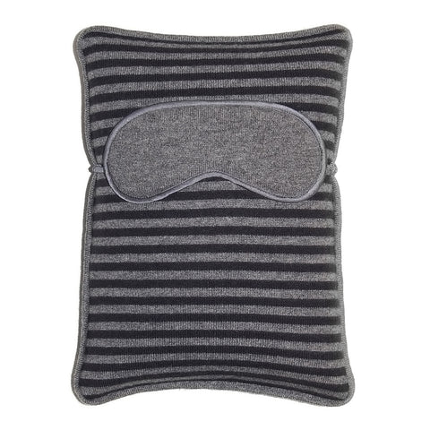 Atlas Travel Pillow with Eye Mask - Medium Grey Melange / Graphite