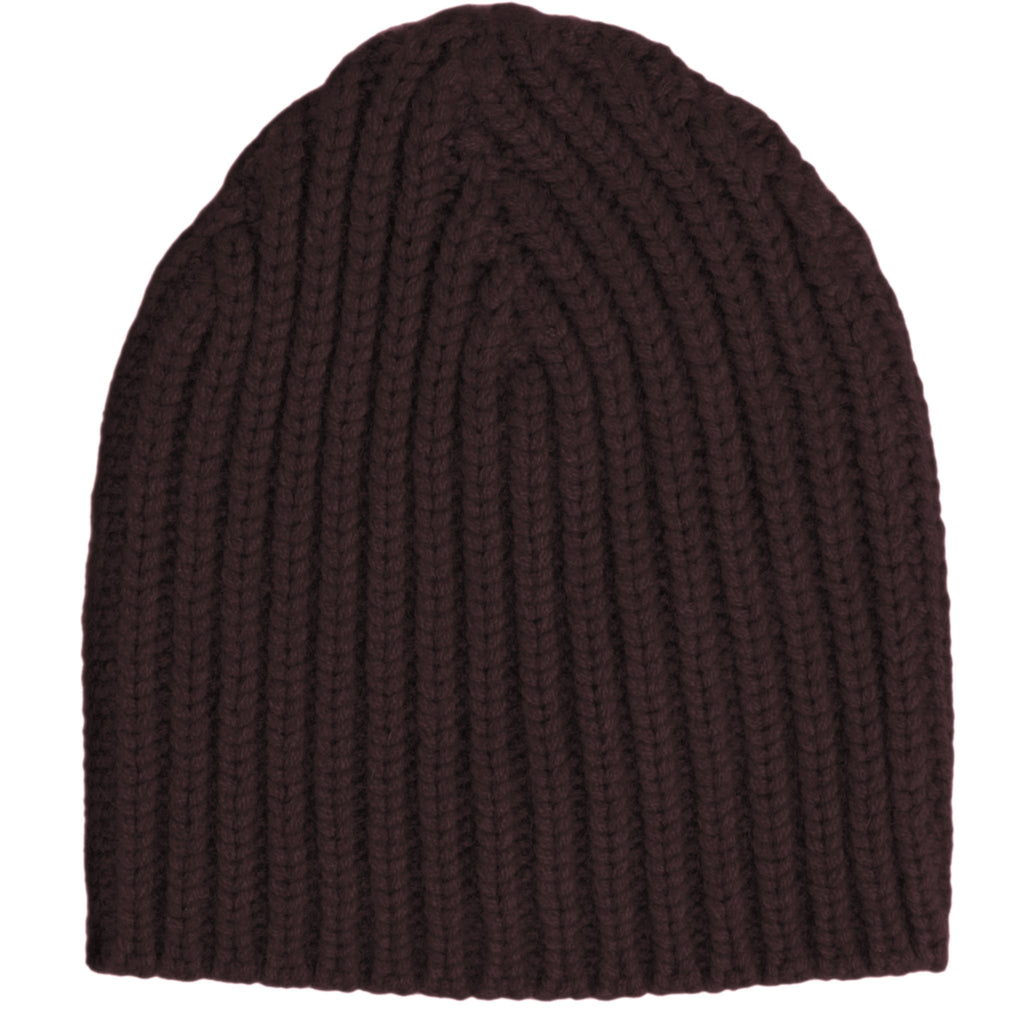Hand Knit Rib Hat - Mulberry