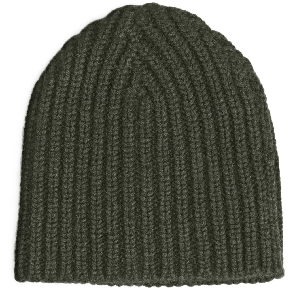 Hand Knit Rib Hat - New Army Green