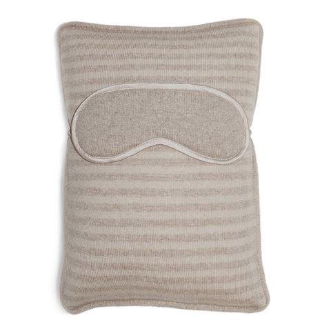 Atlas Travel Pillow with Eye Mask - Beige Melange / Orchid