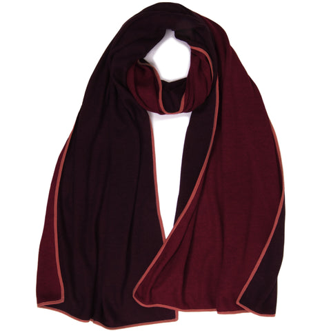 Thin Knit Reversible Muffler - Aubergine / Cinnabar with Pompeian Red Piping