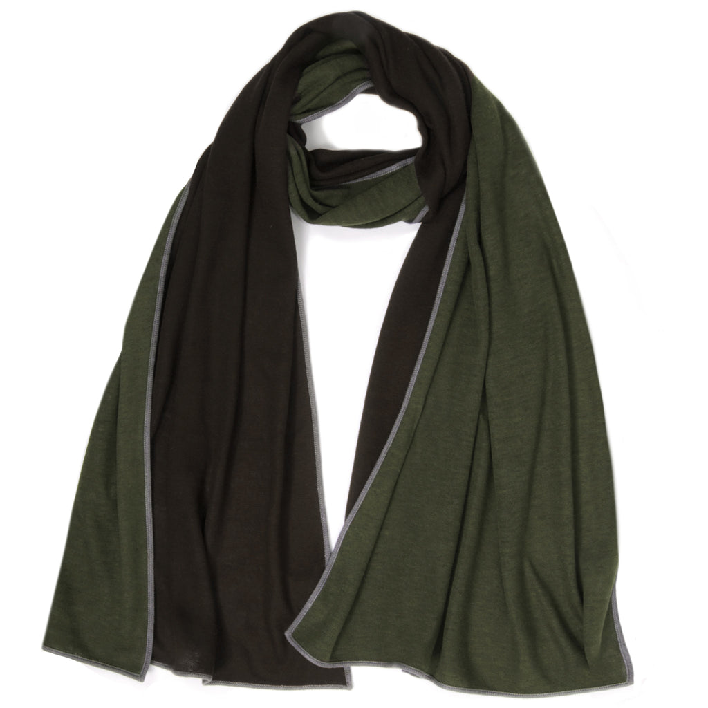 Thin Knit Reversible Muffler - New Army Green / Chocolate with Elephant Piping
