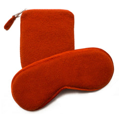 Cashmere Eye Mask and Pouch - Burnt Orange