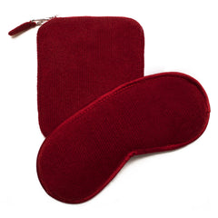 Cashmere Eye Mask and Pouch - Lama Red