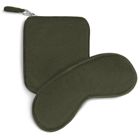 Cashmere Eye Mask and Pouch - New Army Green