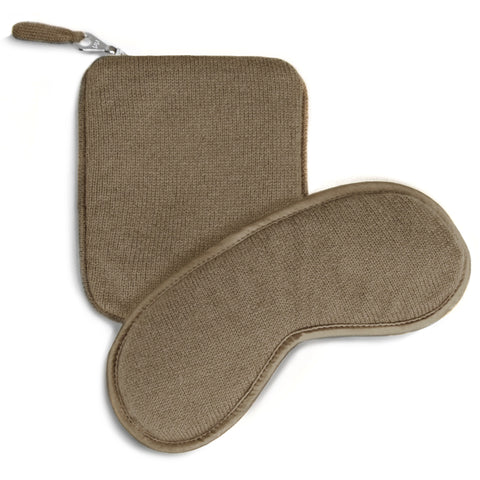 Cashmere Eye Mask and Pouch - Sesame