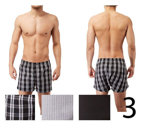 Calvin Klein U1732-002 Woven Boxer 3-Pack Color Plaid Black-Black-Montague Stripe