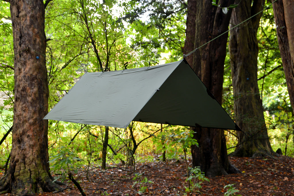 Setting up a tarp for camping, forest school or shade
