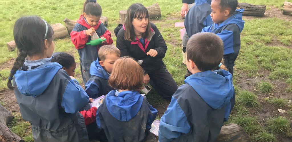 Teacher teaching a class outside on Outdoor Classroom Day