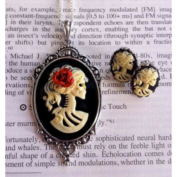 Skeleton Goddess Cameo Necklace and Earrings Set