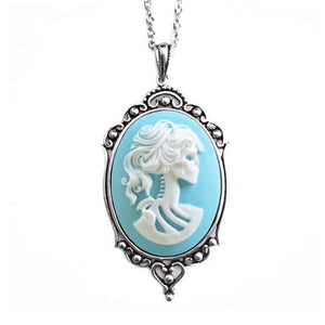 Skeleton Goddess Cameo Necklace