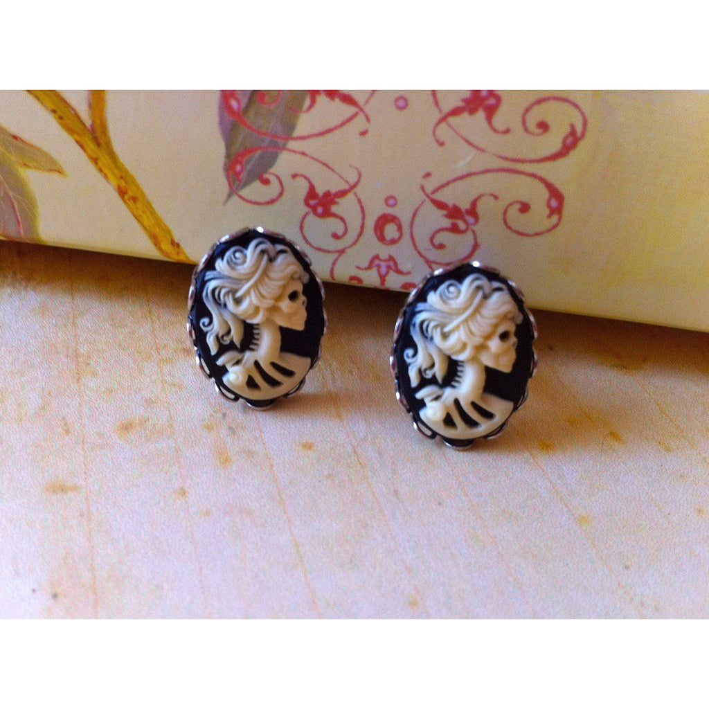 Lolita Skeleton Earrings - Cream Cameo Post Victorian Day of the Dead Zombie