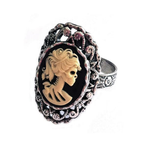 Lady Skeleton Cameo Ring
